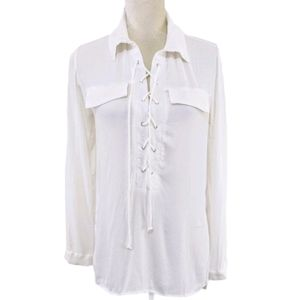 Lulu's Ivory You Know It Long Sleeve Lace Up Top S